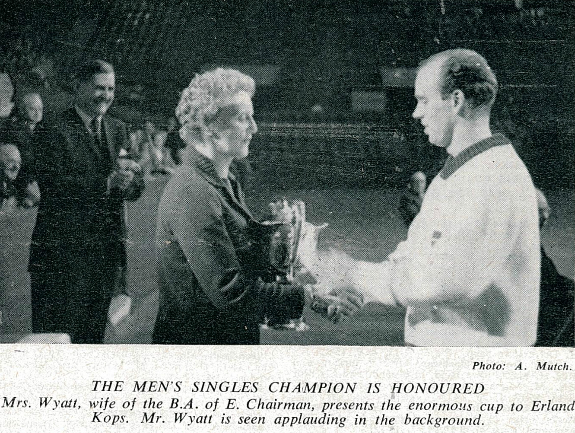 Kops receiving the all england trophy in 1965 from mrs wyatt with ibfs stuart wyatt in background