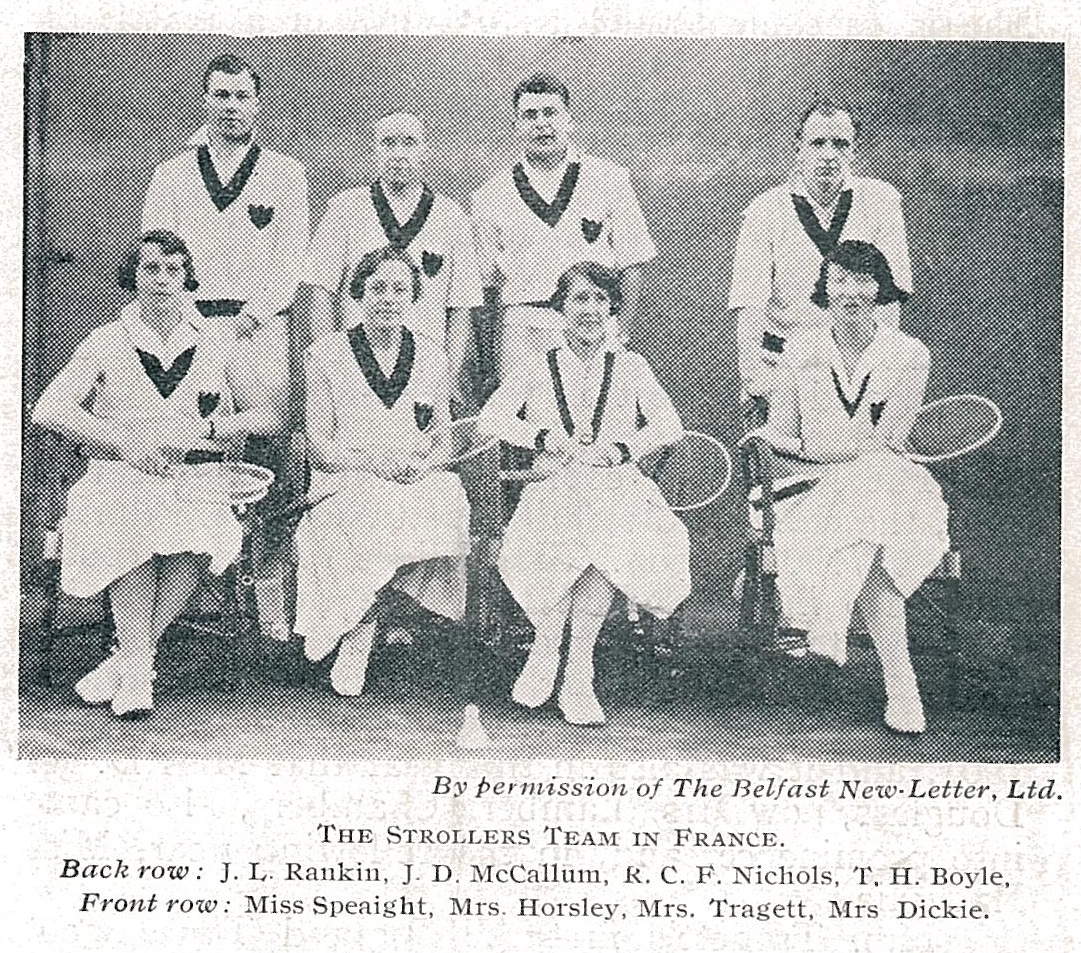 Nichols (3rd l)with team strollers in france - bg apr 1933 - pic by belfast news-letter ltd