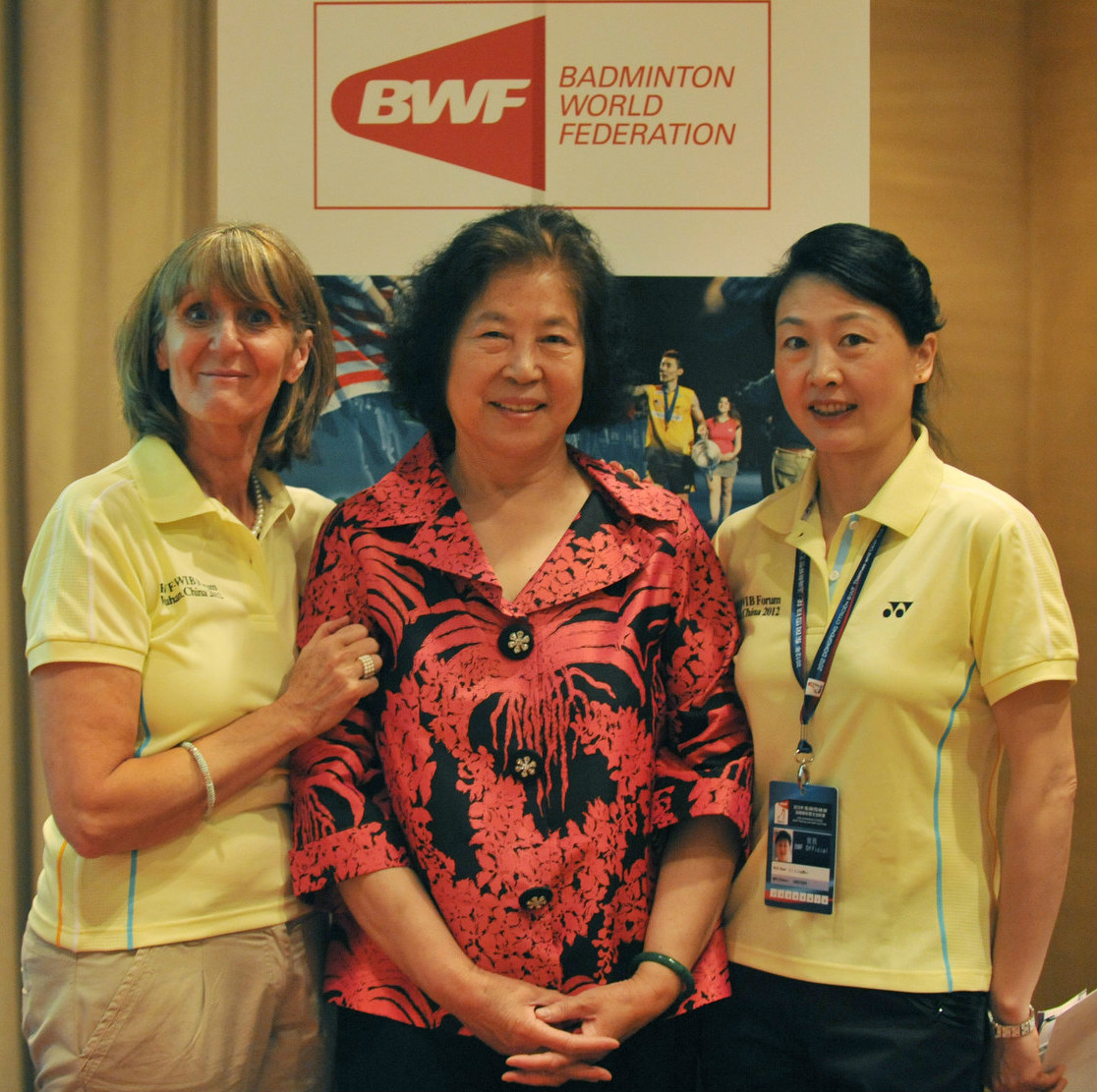 (l-r) nora perry, mdm lu and li lingwei during the womens forum 2015 women's forum.
