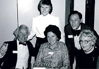 Eddy with dr henley, h ward, m varner +hazel shute - ibf 50th jubilee dinner mar 1984 r