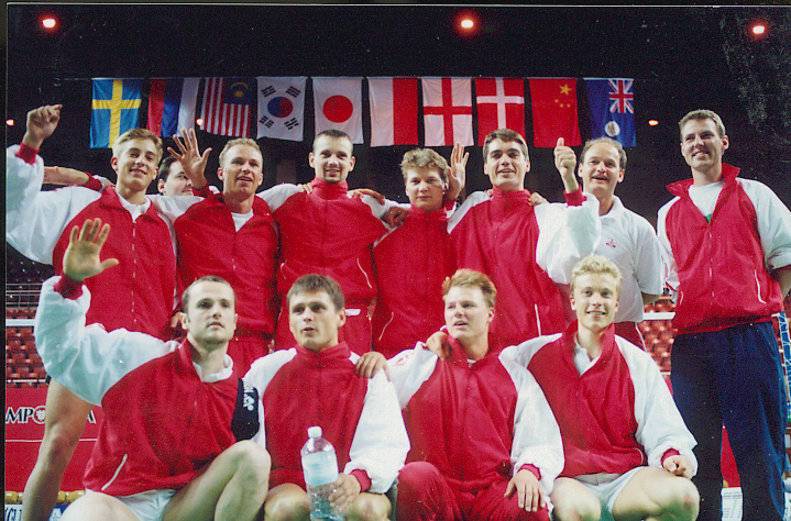 Team denmark including pe hoyer, p gade and morten frost hansen in 1996