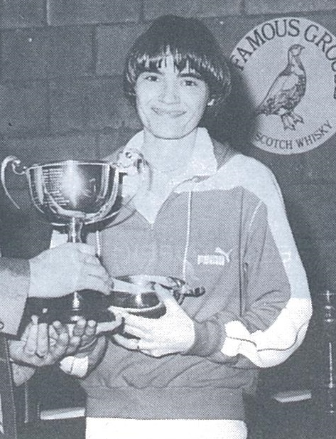 Lene koppen with the famous grouse scottish open trophy - wb mar 1982 - pic by jim thomson