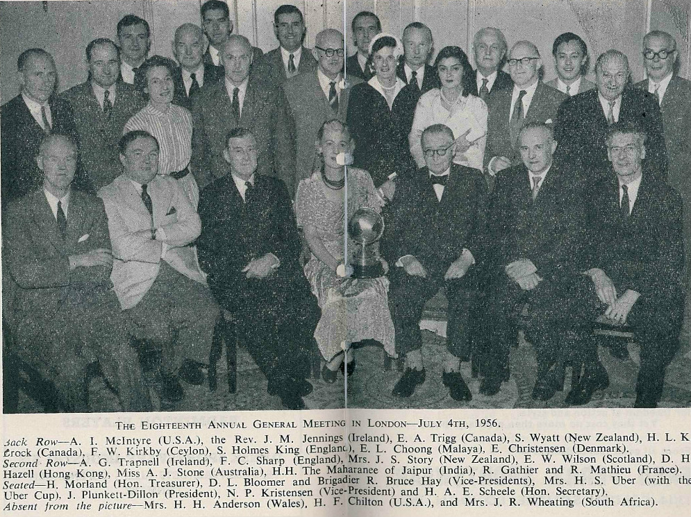 Brig r bruce hay (seated 3rd from l) at the 18th ibf agm in london in 1956