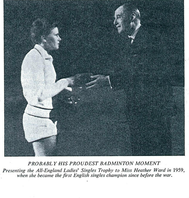 Bruce hay congratulating heather ward as first english woman winner at 1959 all england