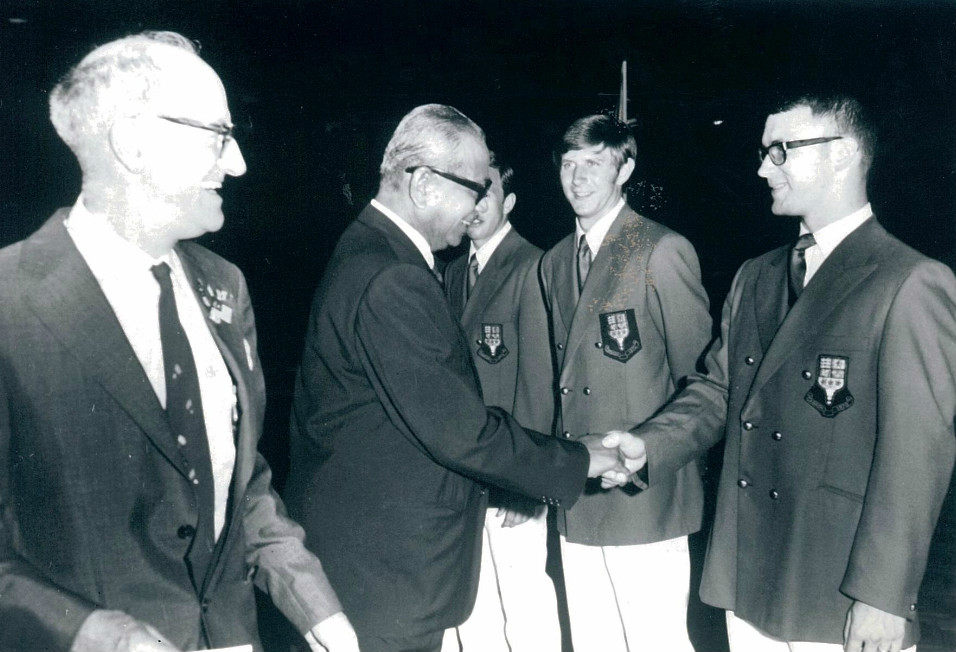 Chilton introducing the tunku to the nz team during the 1970 thomas cup in kl
