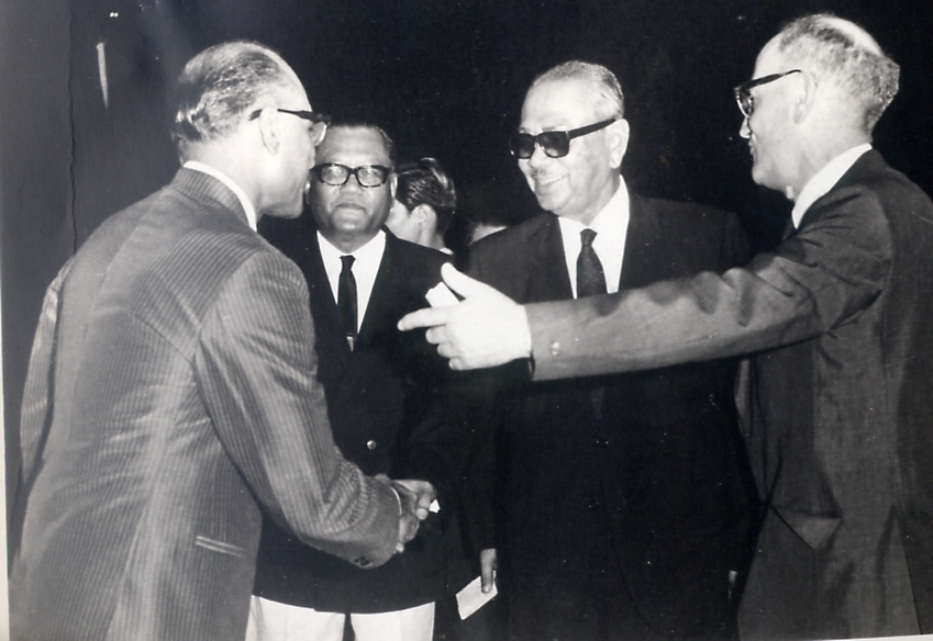 Humphrey chilton (r) introducing an unidentified gentleman to k johari and tunku a rahman (centre) during 1970 thomas cup in kl