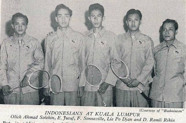A young sonneville (centre) and his compatriots soon after winning the 1955 malayan cships - badminton gazette october 1955