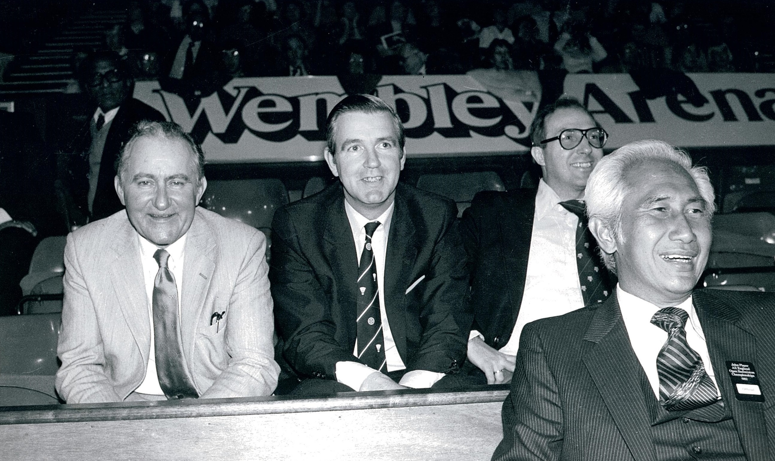F sonneville ennjoying 1982 all england with s mohlin, c reedie, and pe nielsen at wembley arena