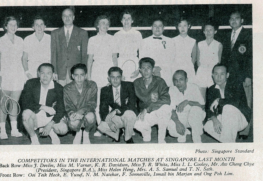 Ferry sonneville (squatting 4th from l) with competitors of international matches in singapore a month before - badminton gazette december 1954