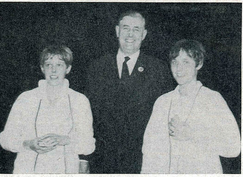 Ba of england president stuart wyatt with the rasmussen sisters, now mrs jorgensen and mrs strand undated