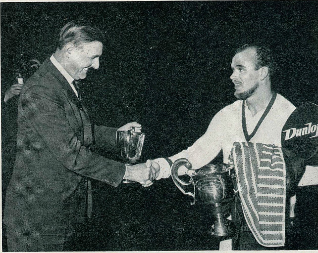 Stuart wyatt (l) congratulating 1963 all england champion erland kops - badminton gazette may 1963