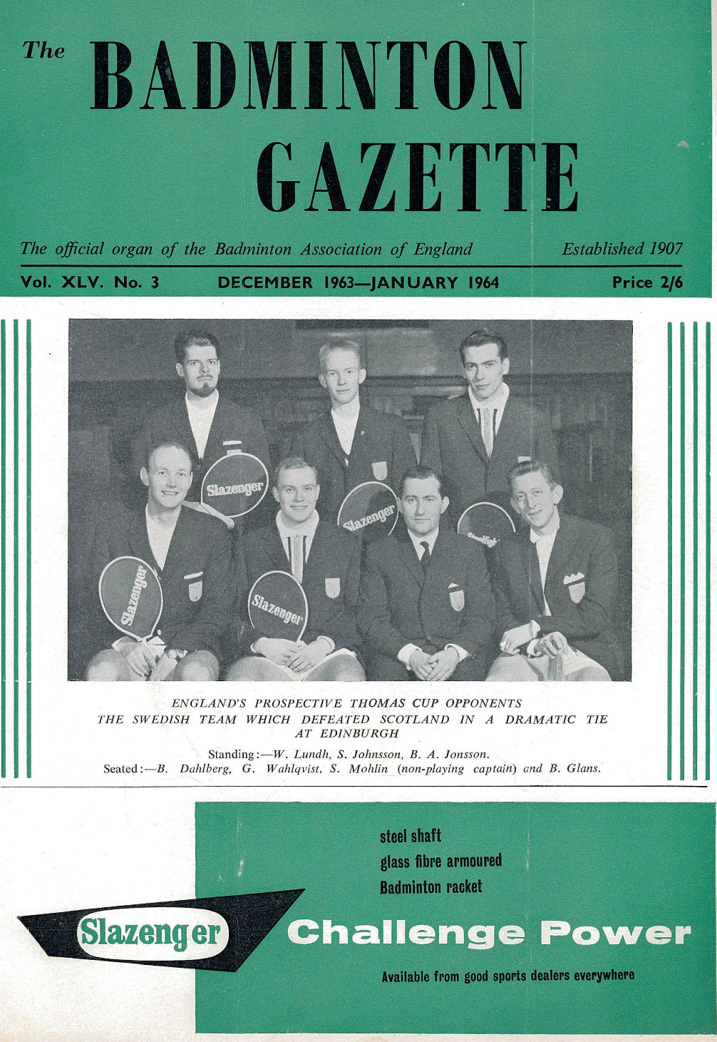 Mohlin (seated 2nd from r) leads swedish t. cup team - badminton gazette dec 1963-jan 1964 cover