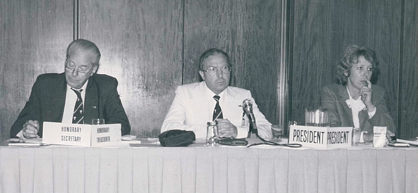 At the 1985 agm (l-r) hon sec herman valken, president poul erik nielsen and gen sec ronnie rowan - pic by louis ross
