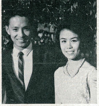 Charoen wattanasin and his bride in bangkok - badminton gazette may 1965