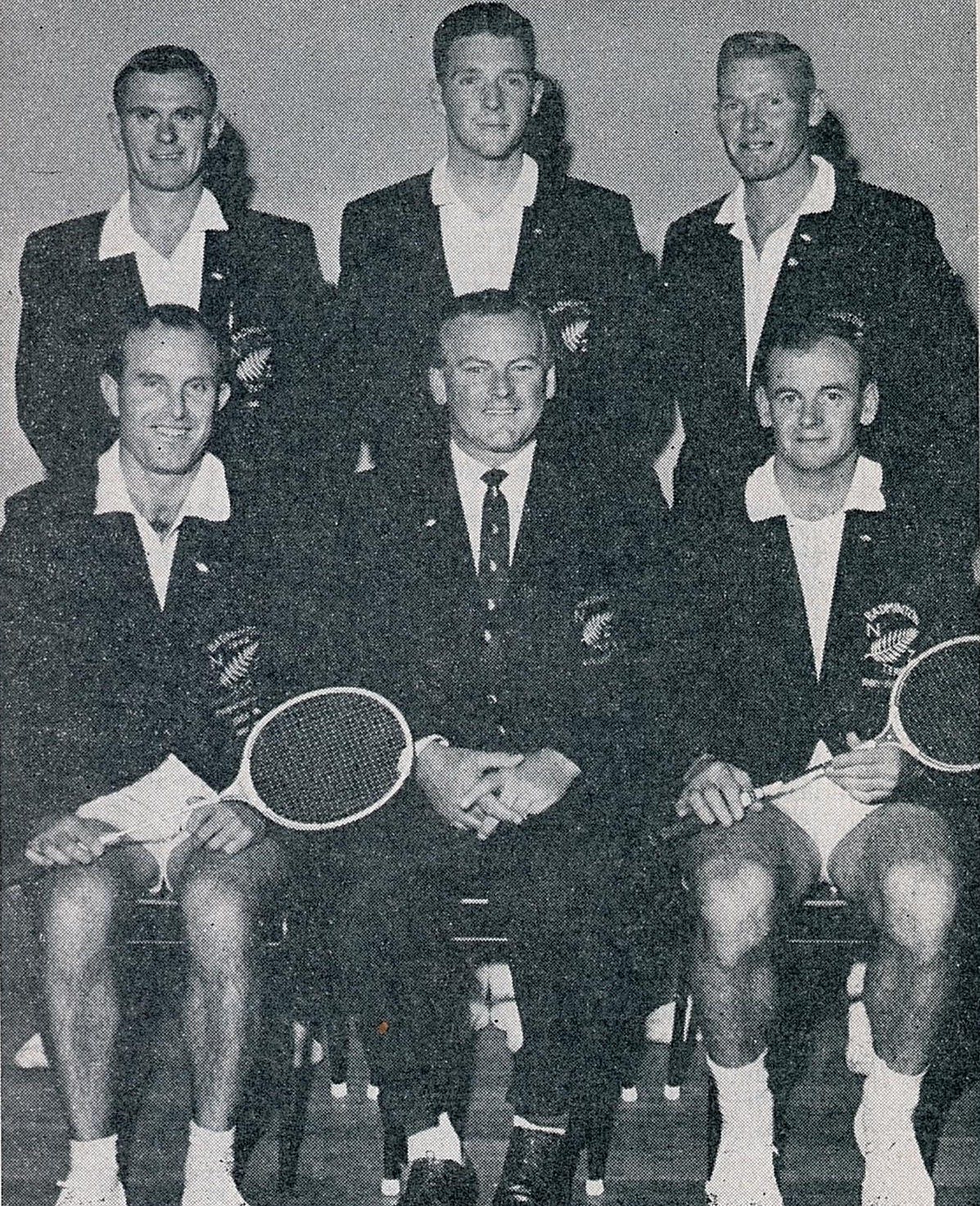 Je robson (seated left) with gf vincent (manager) and rest of nz team in 1962 - ibf handbook for 1962-63