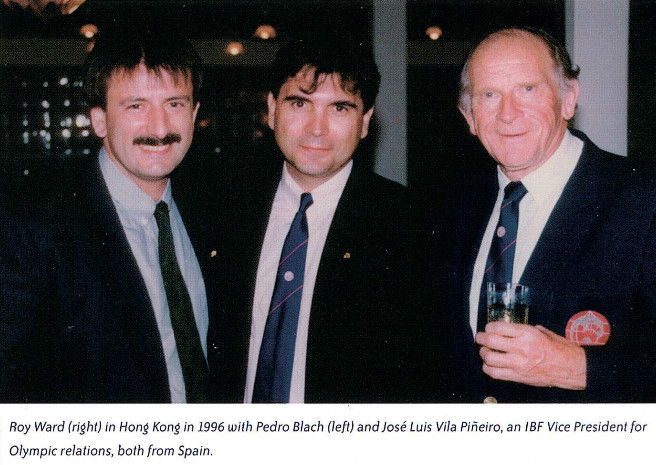 Roy ward (r) in 1996 with pedro blach and luis v pineiro, both from spain