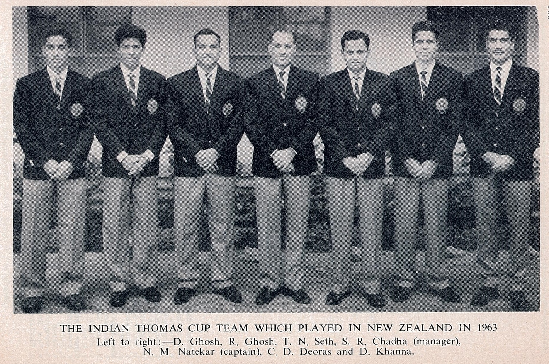 Sriram chadha(centre) with indian team in 1963 - ibf handbook for (63-64)