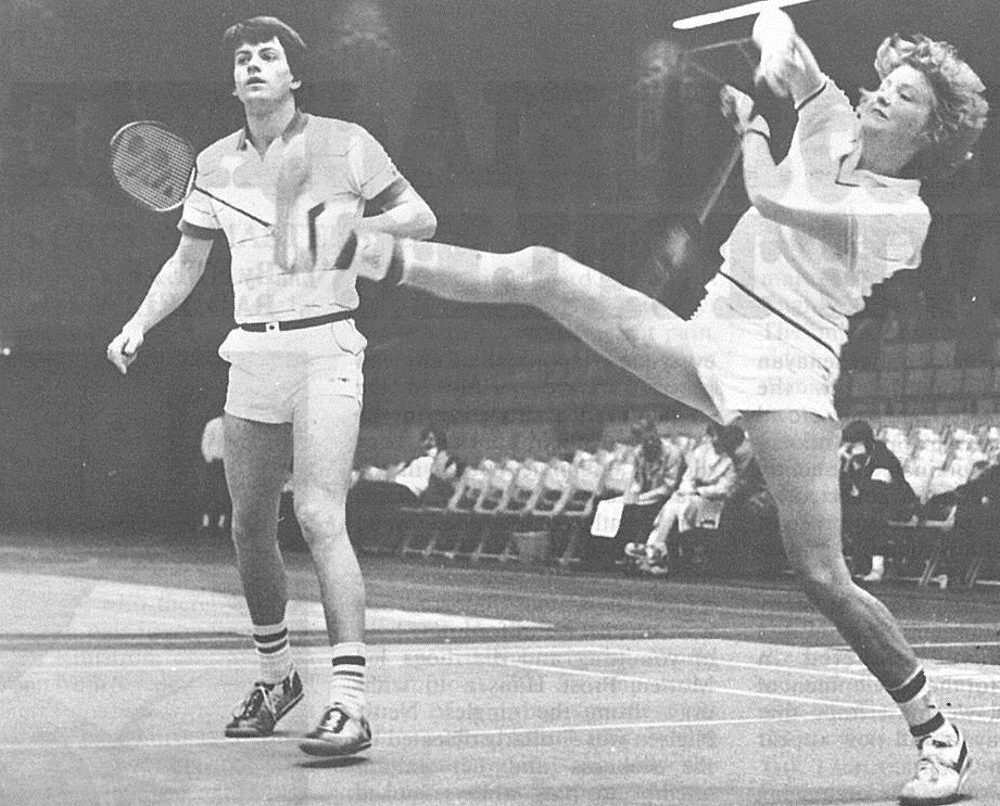 Gillian gilks in action with martin dew (eng) - 3rd world cup - wb dec 1983 - picture by louis ross