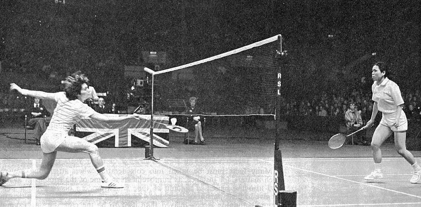 Hiroe yuki (jpn) in action against lene koppen (den) - all england - wb may 1977 - pic by louis ross