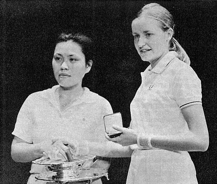 Hiroe yuki + mrs m.a. gilks - two of indonesias strongest opponents - wb aug 1975 - lch ross photo