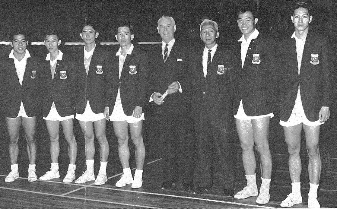 Ng boon bee, far left, with malaya team, australasian zone winners - thomas cup - bg oct 1963 - picture by k.e. niven