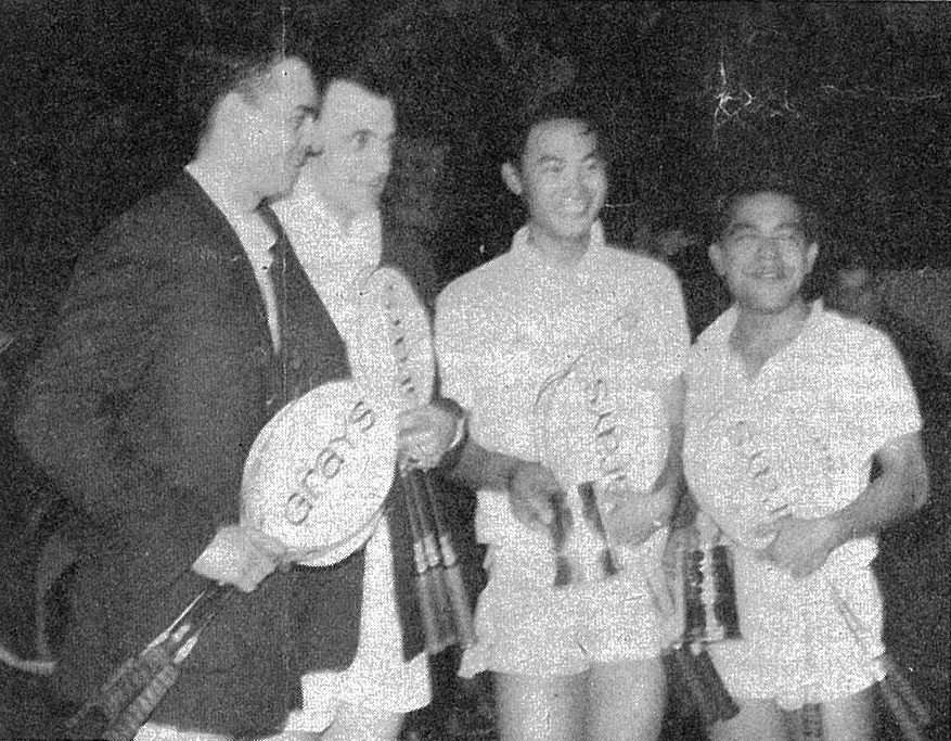Ng boon bee (r) with tan yee khan (mal) and j. hammergaard hansen + finn kobbero (den) - 1966 all england - bg may 1966