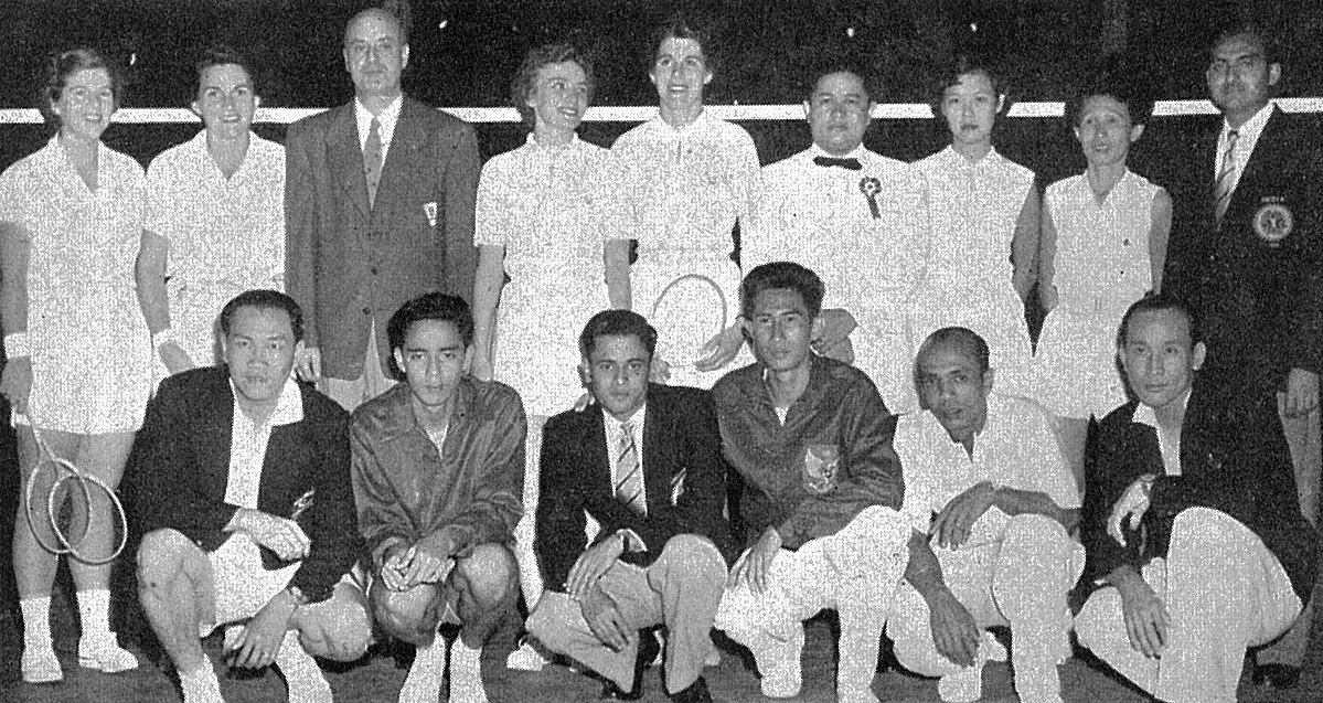 Ong poh lim (mal) squatting far right with rest of participants of international matches in spore - world badminton magazine dec 1954 - picture by singapore standard