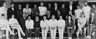 Tjun tjun of indonesia (5th from r standing) a participant of the 1st europe vs asia fixture - world badminton magazine may 1973 308